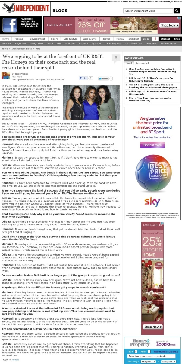 'We are going to be at the forefront of UK R&B': The Honeyz on their comeback and the real reason behind their split | Noel Phillips | Independent Arts Blogs