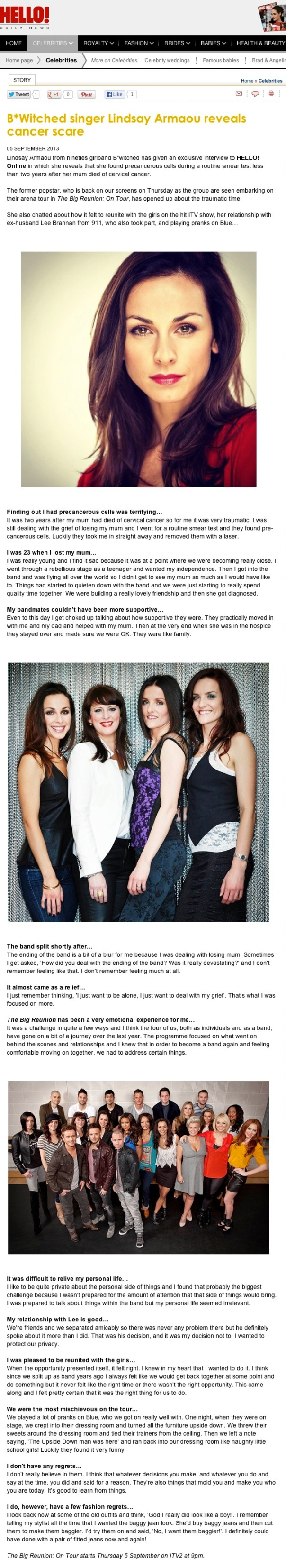 B*Witched singer Lindsay Armaou reveals cancer scare - hellomagazine.com