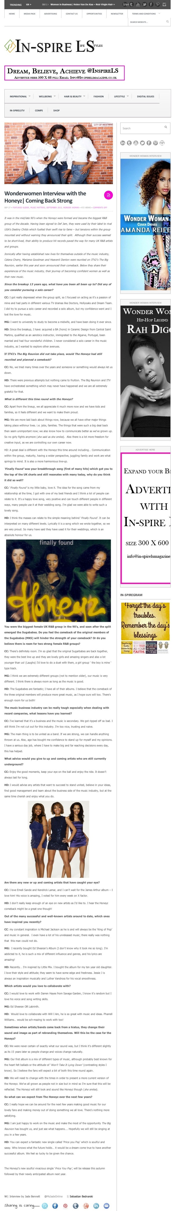 Wonderwomen Interview with the Honeyz| Coming Back Strong | In-spire LS Magazine | In-spireLS Magazine- Your Number One Digital Magazine For Promoting Positive Lifestyles