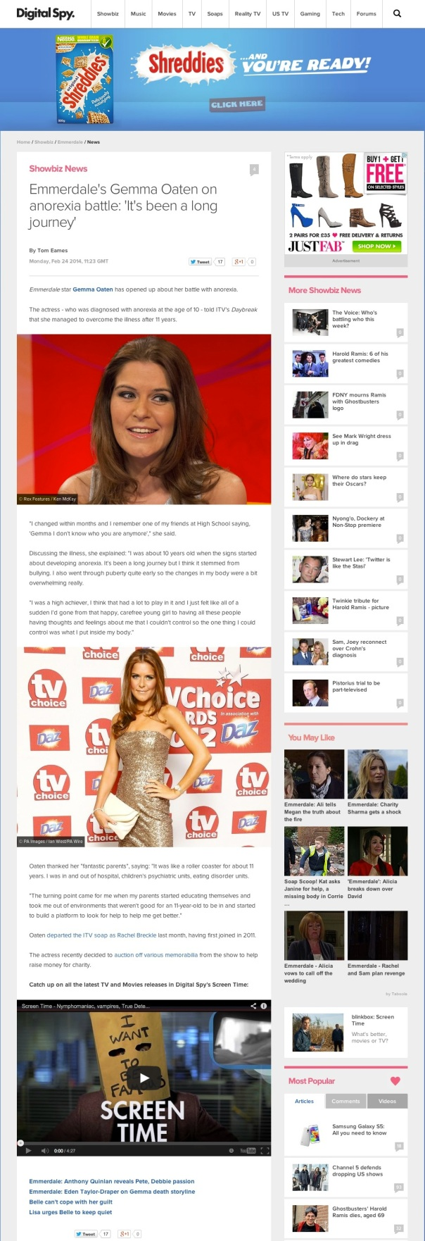 """The soap actress says her struggles with anorexia have been a """"roller coaster""""."""