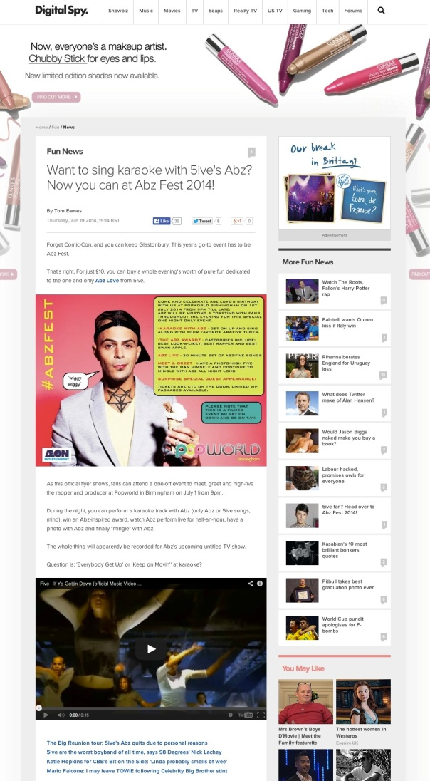 Want to sing karaoke with 5ive's Abz? Now you can at Abz Fest 2014! - Fun News - Digital Spy