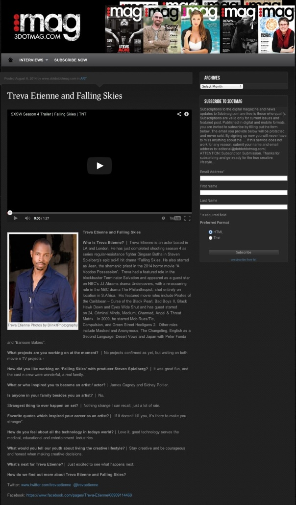 Actor Treva Treva Etienne and Falling Skies and Falling Skies3DOTMAG.COM