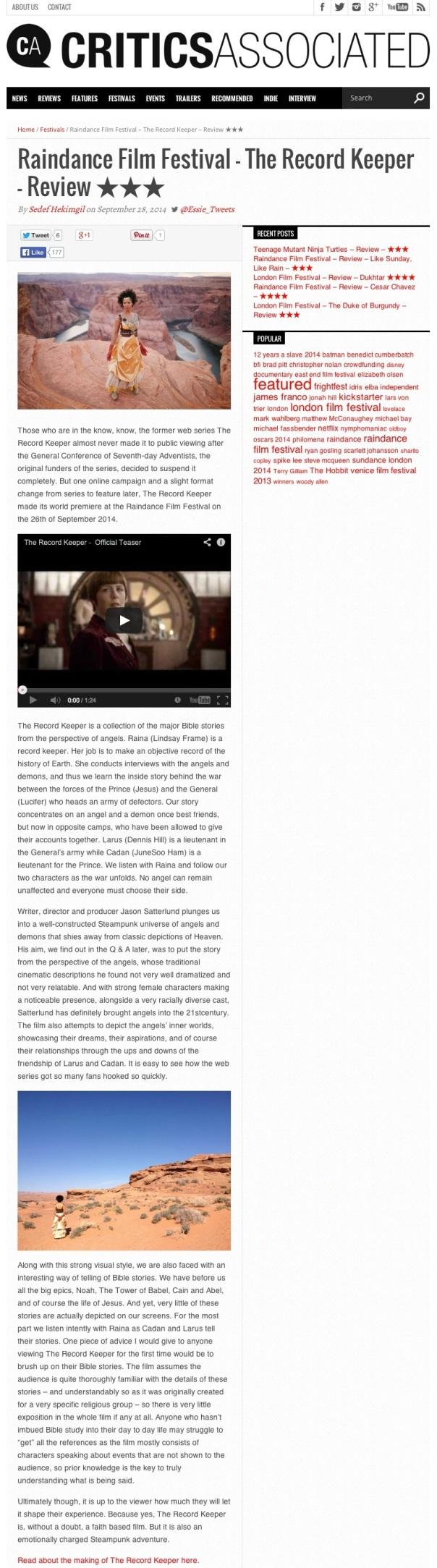 Raindance Film Festival – The Record Keeper – Review ★★★ - Critics Associated
