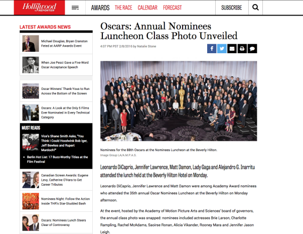 Oscars Annual Nominees 2016 Luncheon Class Photo Unveiled   Hollywood Reporter